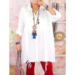Chemise longue femme grande taille coton MELUA Blanc
