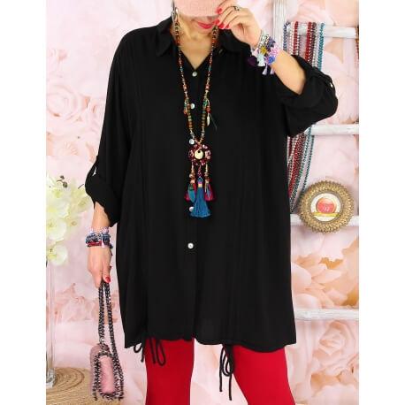 Chemise longue femme grande taille coton MELUA Noir
