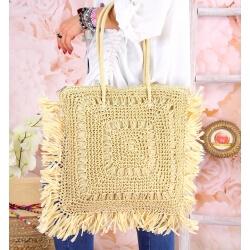 Grand sac cabas paille raphia fait main B54 Naturel-Accessoires mode femme-CHARLESELIE94
