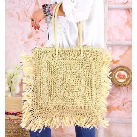 Grand sac cabas paille raphia fait main B54 Naturel Accessoires mode femme