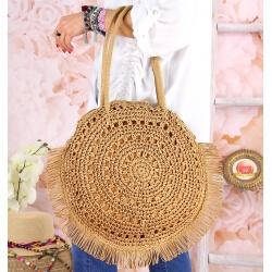Grand sac cabas paille raphia fait main B53 Taupe Accessoires mode femme