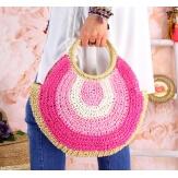 Sac cabas paille rond fait main B64 Rose Accessoires mode femme