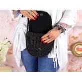 Sac pochette paille raphia fait main B58 Noir Accessoires mode femme
