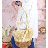 Sac cabas paille satin fait main B62 Naturel-Accessoires mode femme-CHARLESELIE94