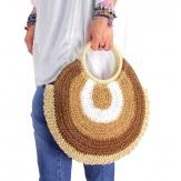 Sac cabas paille rond fait main B64 Camel Accessoires mode femme