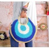 Sac cabas paille rond fait main B64 Bleu Accessoires mode femme