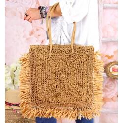 Grand sac cabas paille raphia fait main B54 Taupe-Accessoires mode femme-CHARLESELIE94