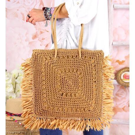 Grand sac cabas paille raphia fait main B54 Taupe Accessoires mode femme