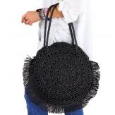 Grand sac cabas paille raphia fait main B53 Noir-Accessoires mode femme-CHARLESELIE94