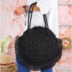 Grand sac cabas paille raphia fait main B53 Noir Accessoires mode femme