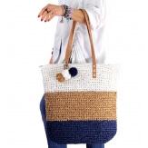 Sac cabas paille pompons XXL fait main B63 Bleu-Accessoires mode femme-CHARLESELIE94