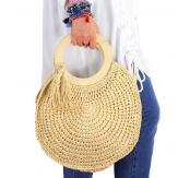Sac cabas paille pompons fait main B57 Naturel-Accessoires mode femme-CHARLESELIE94