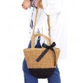 Sac cabas paille satin fait main B62 Camel Accessoires mode femme