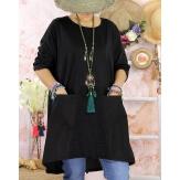 Robe tunique bohème grande taille coton NORA Noire-Robe tunique femme-CHARLESELIE94
