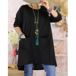 Robe tunique bohème grande taille coton NORA Noir