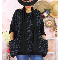 Tunique coton grande taille +écharpe LOUXOR Noire