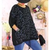 Tunique coton grande taille +écharpe LOUXOR Noire-Tunique femme grande taille-CHARLESELIE94