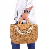 Sac cabas paille coquillages fait main B52 Taupe