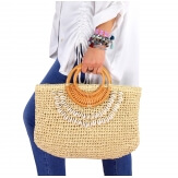 Sac cabas paille coquillages fait main B52 naturel