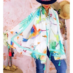 Foulard châle écharpe pompons été imprimé 54-Foulard femme-CHARLESELIE94