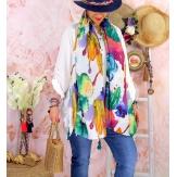 Foulard châle écharpe pompons été imprimé 62-Foulard femme-CHARLESELIE94