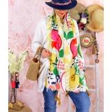 Foulard châle écharpe pompons été imprimé 50