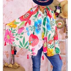 Foulard châle écharpe pompons été imprimé 63-Foulard femme-CHARLESELIE94