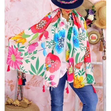 Foulard châle écharpe pompons été imprimé 63 Foulard femme