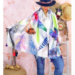 Foulard châle écharpe pompons été imprimé 59-Foulard femme-CHARLESELIE94