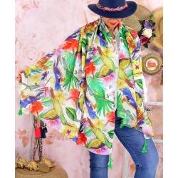 Foulard châle écharpe pompons été imprimé 60-Foulard femme-CHARLESELIE94