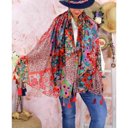 Foulard châle écharpe pompons été imprimé 19-Foulard femme-CHARLESELIE94