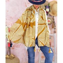 Foulard châle écharpe pompons été imprimé 07C-Foulard femme-CHARLESELIE94