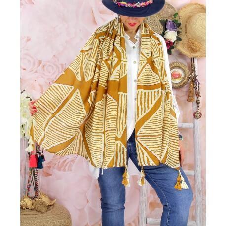 Foulard châle écharpe pompons été imprimé 07C