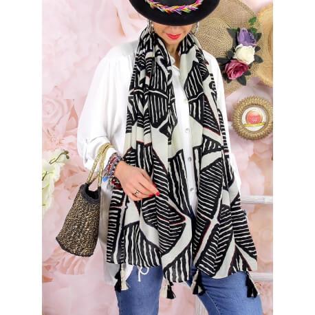 Foulard châle écharpe pompons été imprimé 07N-Foulard femme-CHARLESELIE94