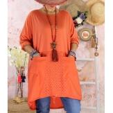Robe tunique bohème grande taille coton NORA Orange