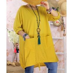 Robe tunique bohème grande taille coton NORA Jaune