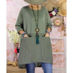 Robe tunique bohème grande taille coton NORA Kaki