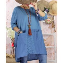 Robe tunique bohème grande taille coton NORA Bleu