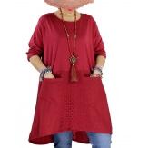 Robe tunique bohème grande taille coton NORA Bordeaux-Robe tunique femme-CHARLESELIE94