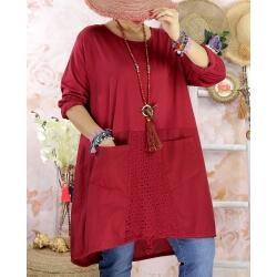 Robe tunique bohème grande taille coton NORA Bordeaux