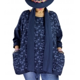 Tunique coton grande taille +écharpe LOUXOR Bleu