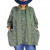 Tunique coton grande taille +écharpe LOUXOR Kaki