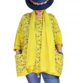Tunique coton grande taille +écharpe LOUXOR Jaune