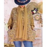 Tunique coton grande taille +écharpe LOUXOR Camel