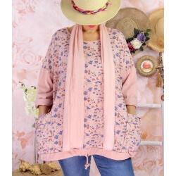 Tunique coton grande taille +écharpe LOUXOR Rose