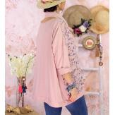 Tunique coton grande taille +écharpe LOUXOR Rose-Tunique femme grande taille-CHARLESELIE94