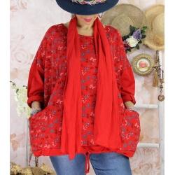 Tunique coton grande taille +écharpe LOUXOR Rouge