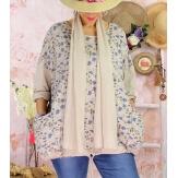 Tunique coton grande taille +écharpe LOUXOR Beige