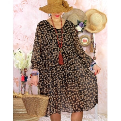 Robe tunique grande taille mousseline MELODY graphique