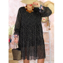Robe tunique grande taille mousseline MELODY Pois